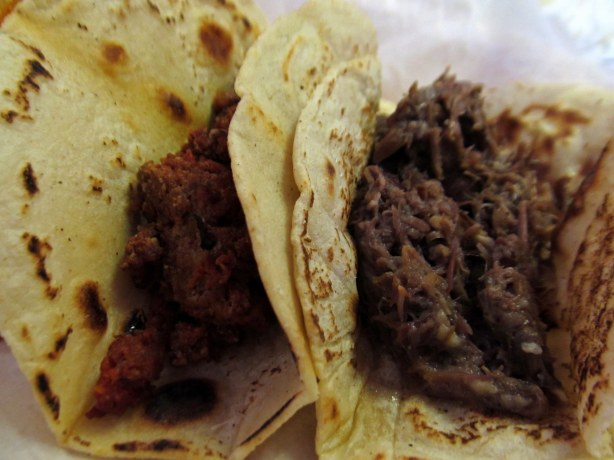 Chorizo and Cabeza Tacos